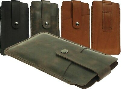 Hand Sewn Of Genuine Leather Pouch Case Cover With Belt Loop For Large Phones
