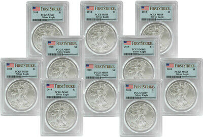 2018 Silver Eagle - PCGS MS-69 First Strike - Lot of 10