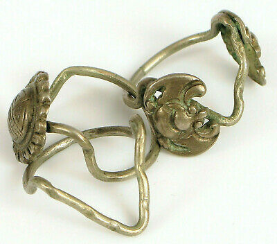 Antique Chinese Sterling Silver Intricate 3 Piece Puzzle Ring With Bats / Scarab