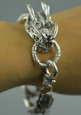 AAA Decorate China Collect Tibet Silver Carve Dragon Head Lucky Fine Bracelet