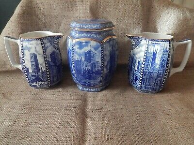 3X Old Large Wade Ringtons Cathedral Ware 2X Jugs & Lidded Ginger Jar Durham Etc