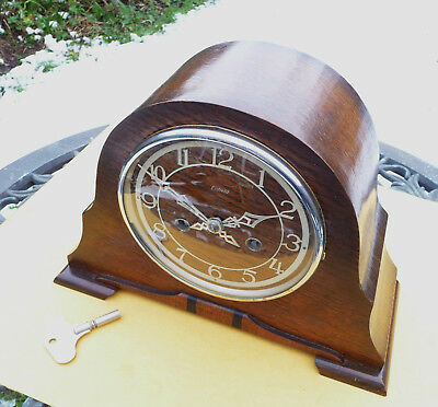 Vintage restored 1950s  Enfield striking mantle clock  with original key.
