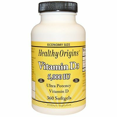 Healthy Origins, Vitamin D D3, 5,000 IU, X 360 Softgels