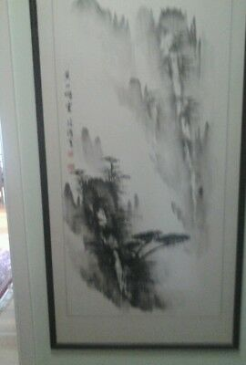 Framed original painting of Kings' Mountains in China