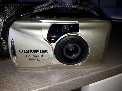 Olympus mju II and case   35mm multi all weather  zoom 80