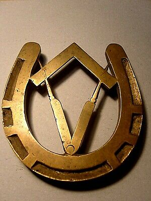 Vintage Solid Brass Horseshoe Trivet With Masonic Design