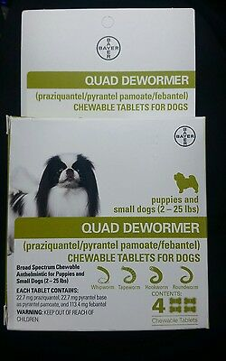 Bayer Quad Dewormer for Puppies and Small Dogs 2-25 lbs (4 Chew Tabs) tablet