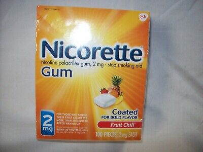 Nicorette Coated Gum Fruit Chill 2 mg 100 Piece BOLD FLAVOR EXP. 2/19- Free ship