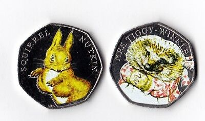 MRS TIGGYWINKLE 2016 & SQUIRREL NUTKIN UNCIRCULATED 50p & Decals Beatrix Potter