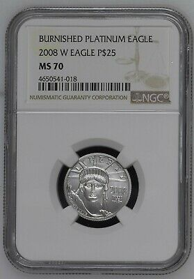 2008-W P$25 Burnished Platinum American Eagle MS70 Very Rare!