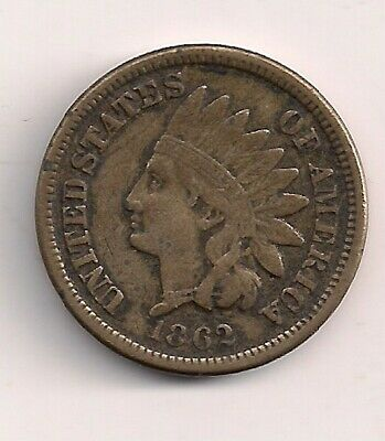 1862 Solid Very Fine Indian Head Cent Penny