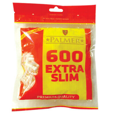 2 x 600 PALMER  EXTRA SLIM Cigarette Filter Tips 1200 TIPS Resealable Large Bag