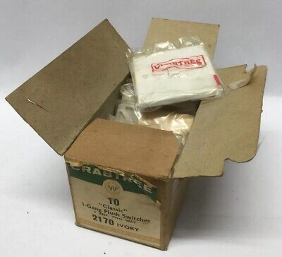 """Box Of 8 Vintage Original Crabtree Ivory """"classic"""" 1 Gang 2 Way Light Switches"""