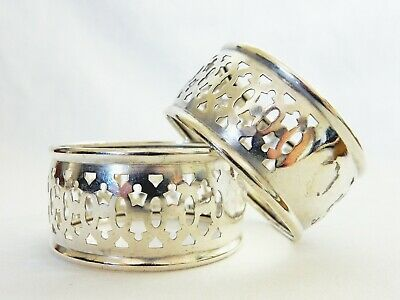 Stunning Pair of Antique Vintage Sterling Solid Silver 925 Pierced Napkin Rings