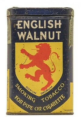 "Scarce 1910s ""English Walnut"" vertical pocket tobacco tin in very good condition"