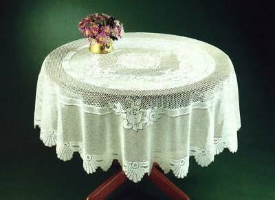 """Traditional Floral Cream Lace Stain Release Table Cloth 60"""" Round £12.69 Each"""