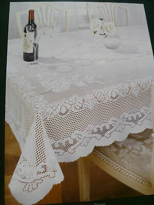 """TRADITIONAL CREAM LACE STAIN RELEASE  FLORAL TABLE CLOTH 60"""" x 90"""" OBLONG £12.99"""