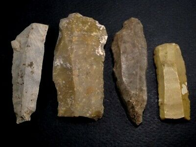 LOT OF 4pcs. RARE NEOLITHIC FLINT SCRAPERS FROM THE BALKANS!!!