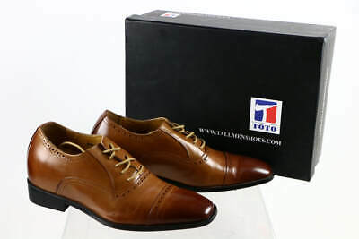 92b77d27dc0 Toto Brown Leather Elevator Height Increase Lace-Up Cap Toe Oxford Dress  Shoes 8