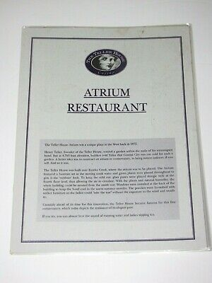 Vintage Menu Of The Atrium Restaurant Teller House Central City Colorado