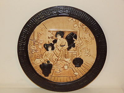 Vintage Bretby pottery 1445 round wall plate plaque in japanese / chinese design