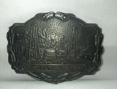 Vintage Grant Oil Company Solid Brass Belt Buckle  - Wyoming Art Works.