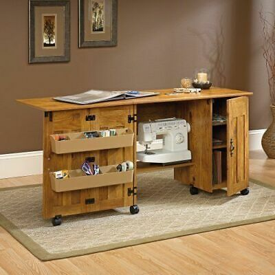 Sewing Machine Cart & Craft Table Storage Bins Cabinets Shelves Foldable Writing