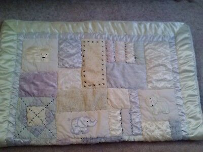 Machine Quilted Patchwork& Applique Embroidery Baby Quilt Blanket-35X45-Cute