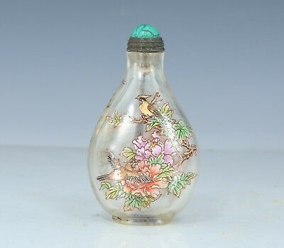 Chinese Exquisite Handmade Flower and bird pattern Glass snuff bottle