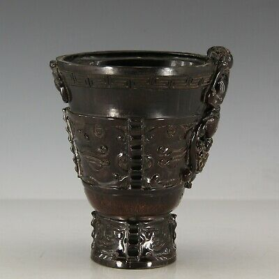Chinese Exquisite Hand-cared brave troops Carving OX horn cup