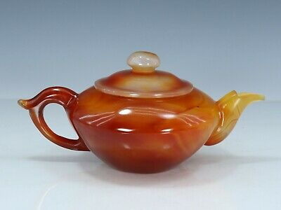 Chinese Exquisite Hand carved agate teapot