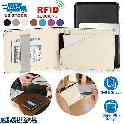 Mens Genuine Leather Money Clip RFID Blocking Slim Wallets ID Credit Card Holder