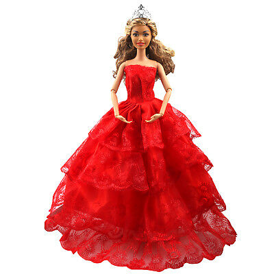 Barbie Doll Clothes Party Gown Outfits 10Pcs 110 Pieces Accessories Storage Case