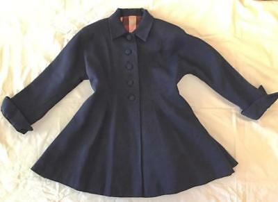 Vintage 1950s Girl's Nipped Waist Navy Blue Wool Coat 29 Chest Fit & Flair