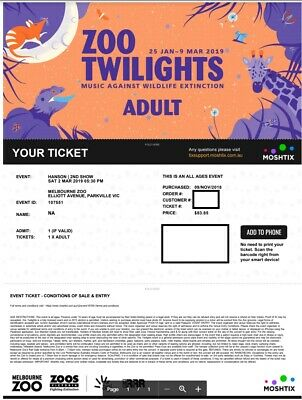 2 X HANSON Concert tickets - Melbourne Zoo Twilights (2nd March 2019)