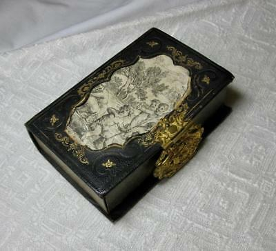 Antique French Cherub Sewing Etui Book Form Case Palais Royale Ormolu 19th C