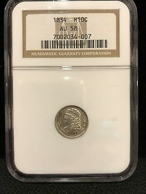 1834 Capped Bust Half Dime - Ngc Graded Au 58 !
