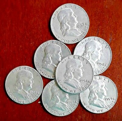 Franklin 50c Silver Half Dollars US 7 Coins Mixed Date & Mint Lot