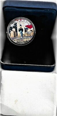 2002-Full Color 999 Silver Eagle Proof United In Memory Of Flight 93 Rare