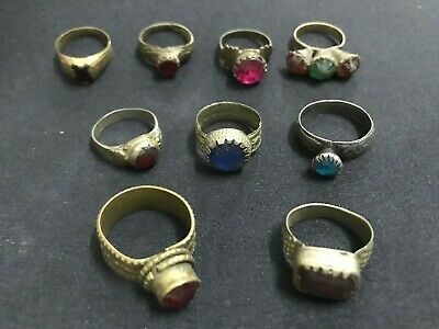 Wholesale 9Pc Old Ring Afghan Kuchi Nomad Tribal Alpaca Silver Assorted Size A09