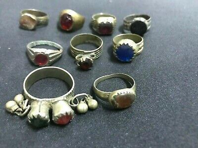 Wholesale 9Pc Old Ring Afghan Kuchi Nomad Tribal Alpaca Silver Assorted Size A08