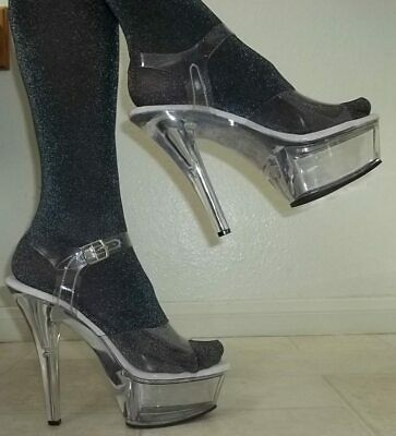 cee762053e8 NEW PLEASER FUNTASMA size 12 Clear Strappy Platform Shoes