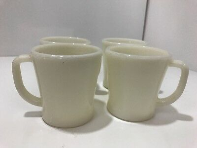 4 Vtg. 1950's Fire King Oven Ware Coffee Cup White Milk Glass D Handle Mugs USA