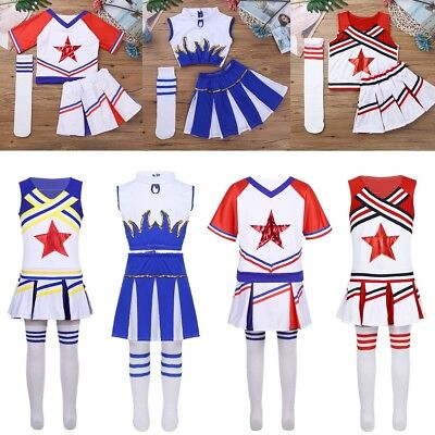 Girl Cheerleader Costume Child Kids Cheer Leader Squad Fancy Dress Dance Outfits