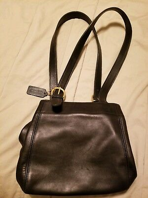 d45bfecc0107 COACH CLASSIC BLACK Leather Flap Front Shoulder Bag (Strap Not ...