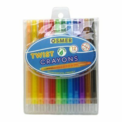 12 Osmer Jumbo School Retractable Twist Crayons 6mm Pigment Non Toxic TWC12C