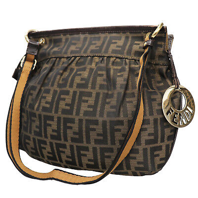 FENDI Zucca Pattern Shoulder Hand Bag Brown Black Canvas Leather Auth  T53 Z db19194d8319a