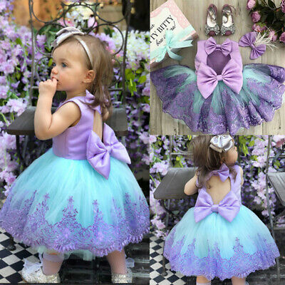 AU Toddler Kids Baby Girls Lace Bowknot Tulle Pageant Princess Formal Gown Dress