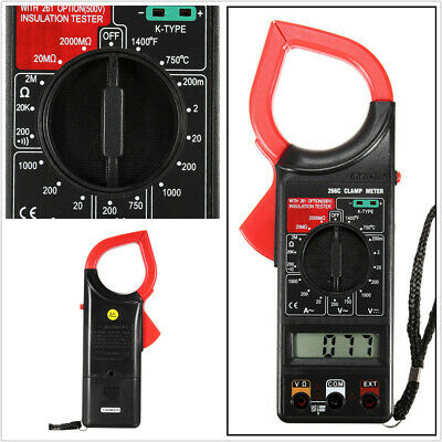Portable DT266C Digital LCD Clamp Meter Multimeter Ohmmeter w/Temp Measurement