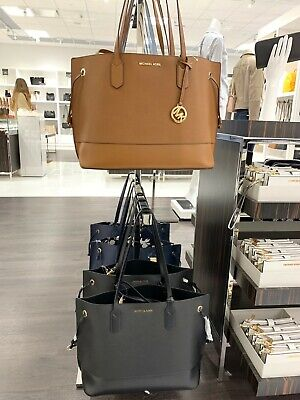 8d1b405ffb88a Michael Kors TRISTA Large Drawstring Tote Leather Bag with Pouch - Black